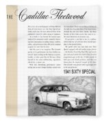 1941 Cadillac Fleetwood Sedan Vintage Ad Fleece Blanket