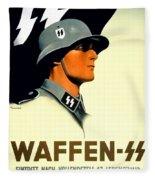 1941 - German Waffen Ss Recruitment Poster - Nazi - Color Fleece Blanket