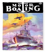 1942 - Motor Boating Magazine Cover - October - Color Fleece Blanket