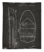 1943 Chris Craft Boat Patent Artwork - Gray Fleece Blanket