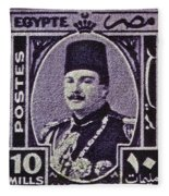 1944 King Farouk Egypt Stamp  Fleece Blanket