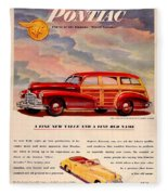 1946 - Pontiac Woodie Station Wagon And Convertible Advertisement - Color Fleece Blanket