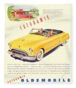 1948 - Oldsmobile Convertible Automobile Advertisement - Color Fleece Blanket