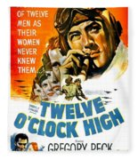1949 - Twelve O Clock High Movie Poster - Gregory Peck - Dean Jagger - 20th Century Pictures - Color Fleece Blanket