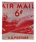 1949 Dc-4 Skymaster Air Mail Stamp Fleece Blanket