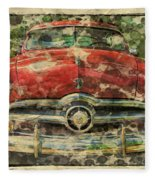 1949 Red Ford Coupe Fleece Blanket