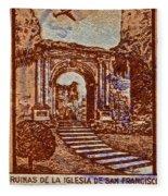 1949 San Francisco Ruins Dominican Republic Stamp Fleece Blanket