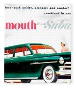 1950 - Plymouth Suburban Station Wagon Automobile Advertisement - Color Fleece Blanket
