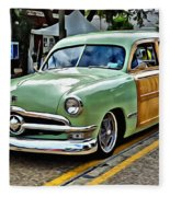1950 Ford Deluxe Woody Station Wagon Fleece Blanket