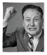 1950s 1960s Portrait Of Angry Man Fleece Blanket