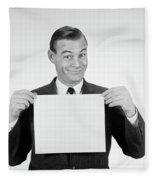 1950s 1960s Smiling Man Funny Facial Fleece Blanket