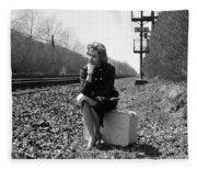 1950s 1960s Woman Sad Worried Facial Fleece Blanket