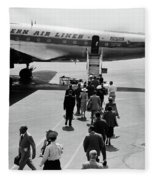 1950s Airplane Boarding Passengers Fleece Blanket by Vintage Images