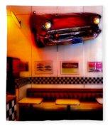 1950s American Diner - Featured In Vehicle Enthusiasts Fleece Blanket