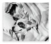 1950s Boy Hiding Under Blanket In Bed Fleece Blanket