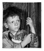1950s Boy Wearing Raccoon Skin Hat Fleece Blanket