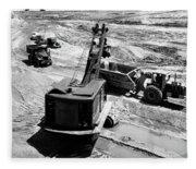 1950s Construction Site Excavation Fleece Blanket