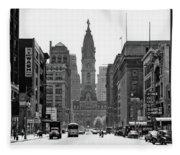 1950s Downtown Philadelphia Pa Usa Fleece Blanket