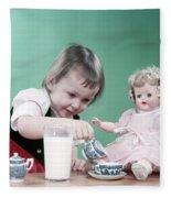 1950s Little Girl Toddler And Baby Doll Fleece Blanket