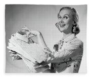 1950s Proud Smiling Woman Housewife Fleece Blanket