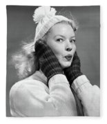 1950s Young Woman Pursing Lips Hands Fleece Blanket