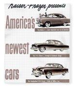 1951 - Kaiser Frazer Manhattan Automobile Advertisement - Color Fleece Blanket