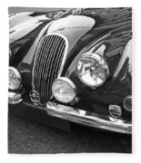 1951 Jaguar Xk120 In Black And White Fleece Blanket