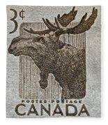 1953 Canada Moose Stamp Fleece Blanket