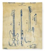 1953 Fender Bass Guitar Patent Artwork - Vintage Fleece Blanket