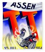 1954 - Assen Tt Motorcycle Poster - Color Fleece Blanket