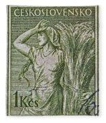 1954 Czechoslovakian Farm Woman Stamp Fleece Blanket