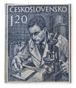 1954 Czechoslovakian Scientist Stamp Fleece Blanket