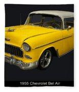 1955 Chevy Bel Air Harvest Gold Fleece Blanket
