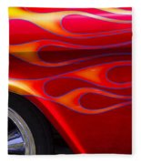 1955 Chevy Pickup With Flames Fleece Blanket