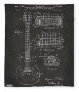 1955 Mccarty Gibson Les Paul Guitar Patent Artwork - Gray Fleece Blanket