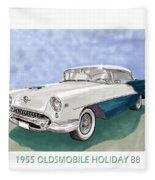 1955 Oldsmobile Holiday 88 Fleece Blanket