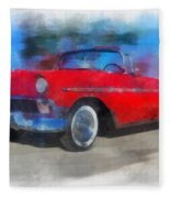 1956 Chevy Car Photo Art 01 Fleece Blanket