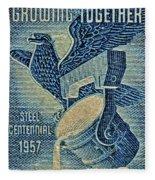 1957 America And Steel Growing Together Stamp Fleece Blanket