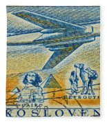 1957 Czechoslovakia Airline Stamp Fleece Blanket