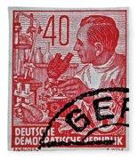 1957 German Democratic Republic Chemist Stamp Fleece Blanket