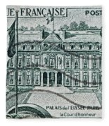 1957 Palais Del Elysee Paris Stamp Fleece Blanket