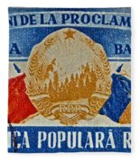 1957 Romanian Coat Of Arms And Flags Stamp Fleece Blanket