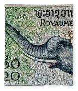 1958 Laos Elephant Stamp II Fleece Blanket