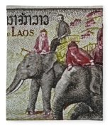 1958 Laos Elephant Stamp IIi Fleece Blanket