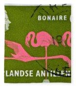 1958 Netherlands Antilles Flamingoes Stamp - Curacao Postmark Fleece Blanket