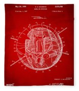 1958 Space Satellite Structure Patent Red Fleece Blanket