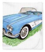 1959 Corvette Frost Blue Fleece Blanket