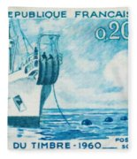 1960 Day Stamp Installation Of A Submarine Cable Fleece Blanket