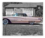 1960 Thunderbird Bw Fleece Blanket