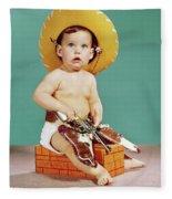 1960s Baby Wearing Cowboy Hat Fleece Blanket